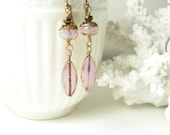 Pink opal czech glass spring blossom earrings brass