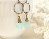 Sea blue chalcedony briolette earrings brass