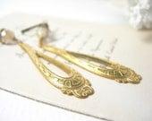 Aztec earrings vintage brass givre glass