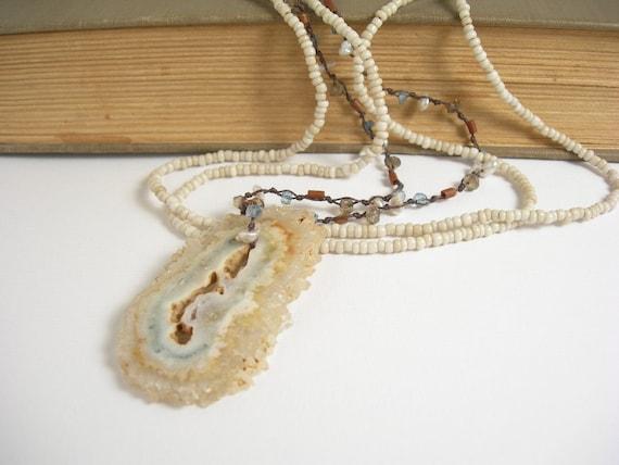 London blue quartz druzy pendant handknotted one of a kind necklace