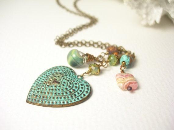 Custom Order for Sldewald, Summer charmed necklace seafaom glass sage green lampwork patinaed brass heart