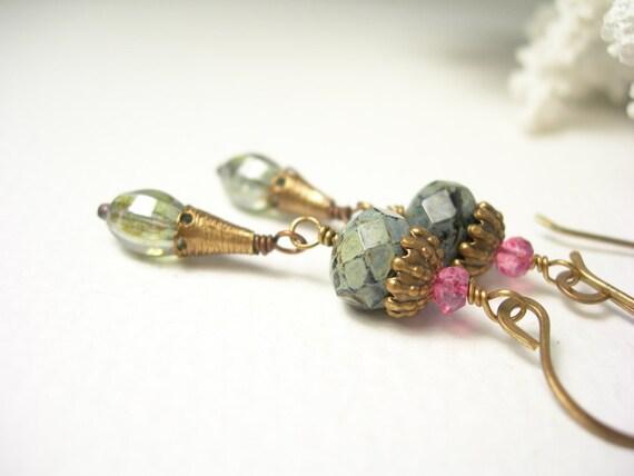 Woodland forest earrings pink quartz green czech glass