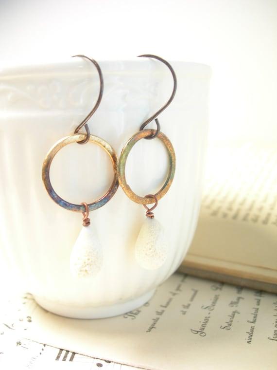 Stone lampwork earrings copper hoops organic modern