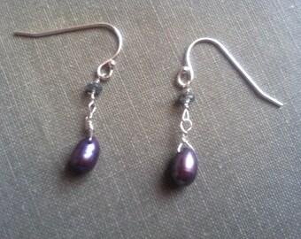 Purple freshwater pearl & apatite sterling earrings