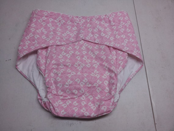 Adult Cloth Diaper - Pink with Diaper Pins - Size 40 to 48 inches