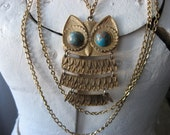 Super huge owl multi chain necklace