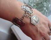 Victorian Vintage paris souvenir bracelet, silver filigree, 1920 french bracelet, depose filigrane