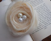Peach pearl and  tulle fascinator clip- handmade bridal flower, bridesmaid gift