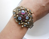 Twilight purple and blue cuff, upcycled vintage brooch bracelet, spring wedding cuff
