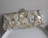 Cream and white vintage button evening bag, bridal clutch, ooak upcycled vintage purse, Buttons of fun