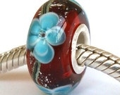 SALE - Red Blue Flower silver Charm glass bead for large hole trollbead  Biagi and European style bracelets necklaces