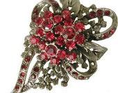 Red dark red flowers rhinestone crystal swarovski brooch pin