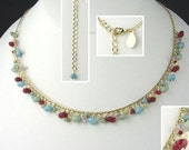 14KT Gold EP Necklace with Colorful Small Beads