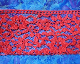 Wide Red Lace Trim