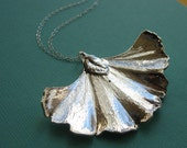 Ginkgo Leaf Necklace, Real Genuine Sterling Silver leaf