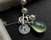 RESERVED FOR ADRIANNE Pathway Necklace, Natural Pearls, Hand Stamped Letter Charm, and Gemstone on Sterling Silver, toggle frony