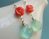 Coral & aqua Earrings, Coral and turquoise chalcedony, teal blue jewelry, sterling silver, bridal jewelry, coral earrings, aqua chlacedony
