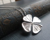 Four leaf clover necklace, sterling silver shamrock necklace, SILVER OR GOLD, shamrock charm necklace, lucky charm