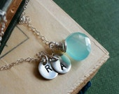 Custom Birthstone & TWO Initial necklace, personalized jewelry, friendship necklace, sisters necklace., mothers jewelry