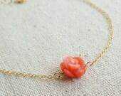 Delicate gold Bracelet, Thin Gold filled Bracelet, coral rose bracelet, Bridesmaid gifts, Simple, dainty, Adjustable