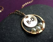 Peas in a pod Necklace, Hand stamped initials, freshwater pearls, Husband & Wife, Mothers necklace, Family, children