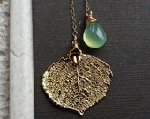 Leaf Necklace, Real Aspen Leaf jewelry,Lime Green Chalcedony, Bridesmaid Gift, lariat necklace, woodland wedding