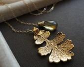 Fall wedding, Gold Leaf & Topaz Necklace, November birthstone, Lariat necklace, Bridesmaid Gift, y-drop, Real Oak leaf, Autumn Wedding