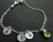 Personalized mothers jewelry with THREE INITIALS and Custom Birthstone, mothers bracelet, grandmom, family, August Peridot