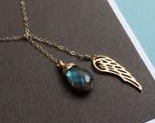 Gold Angel Wing & Labradorite Necklace, Gold Feather Necklace, Labradorite Lariat Necklace, gold filled chain, wire wrapped