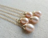 Bridesmaid Gifts, Five Pearl Necklaces, Pink Pearl Solitaire necklace, Gold filled, Wire Wrapped, Bridal jewelry gift sets