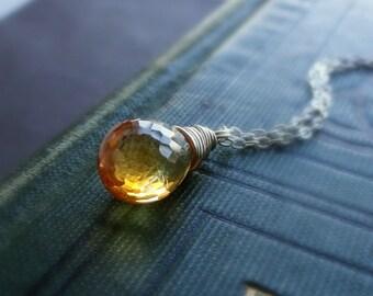 Citrine Necklace, November birthstone necklace, citrine jewelry, wire wrapped gemstone, sterling silver  birthstone necklace