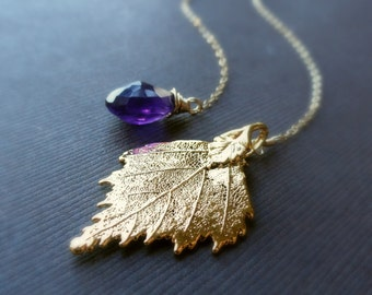 Y necklace, gold leaf necklace, gold dipped leaf, gemstone necklace, amethyst necklace, lariat necklace, wire wrapped, semi precious jewelry