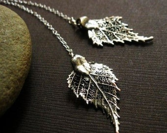 Birch Leaf Necklace, lariat neckalce, Y-necklace, oxidized Sterling Silver, real leaf jewelry, fall winter jewelry