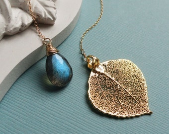 leaf necklace with labradorite, Real leaf jewelry, labradorite necklace, lariat necklace, gold filled, y drop, aspen leaf necklace