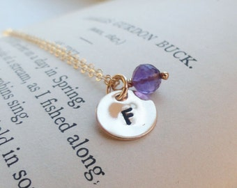 Gold initial necklace with birthstone, bridesmaid gift, personalized mothers necklace, minimal jewelry, dainty, personalized necklace