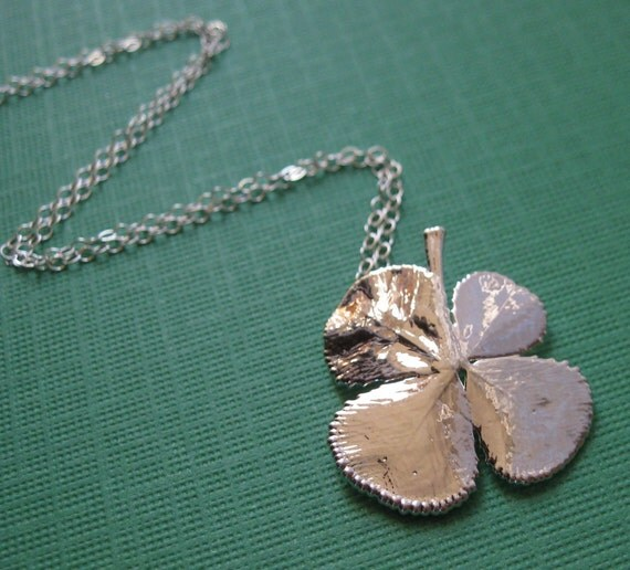 Sterling Silver Shamrock, A Change of Luck Necklace, Genuine Four Leaf Clover