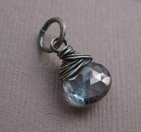 PENDANT ONLY, Faceted Mystic Blue QQuartz Rock Crystal Briolette Wire Wrapped in Oxidized Sterling Silver