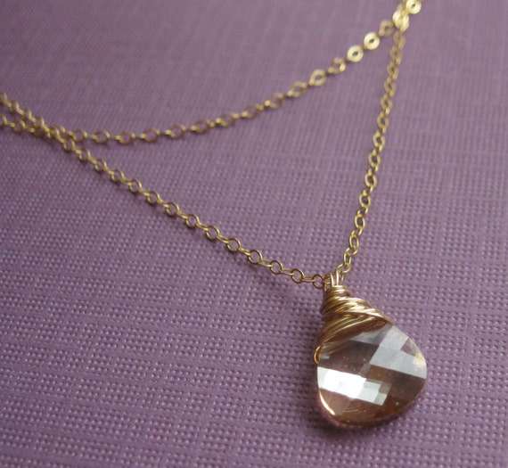 Double Necklace, Wire Wrapped Swarovski Crystal Pendant on 14k GF Chain