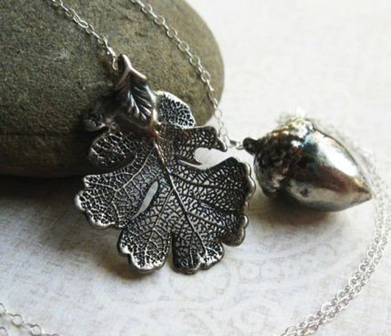 READY TO SHIP Harvest Lariat, Genuine Lacy Oak Leaf and a Real Acorn, Dipped in Stelring Silver and Oxidized