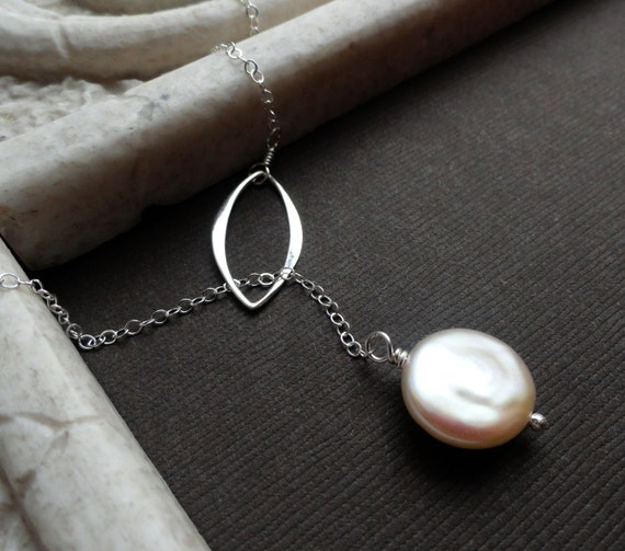 Sliver of Moonlight Lariat Necklace, White Coin Pearl, y-drop, sterling silver modern Leaf, great bridal gifts