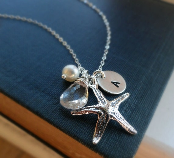 Personalized starfish necklace, Bridesmaid gifts, beach wedding jewelry, custom initial & birthstone necklace, starfish necklace