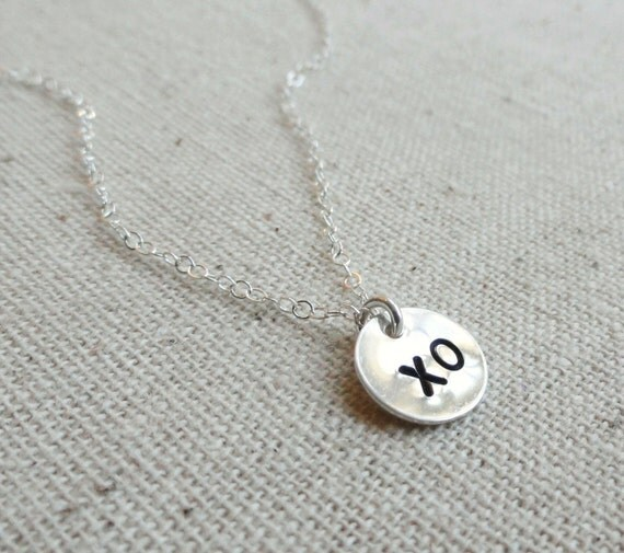 Silver layering necklace, Hugs & Kisses, Sterling silver layering necklace, Hand stamped, XO, minimal, delicate jewelry, everyday jewelry