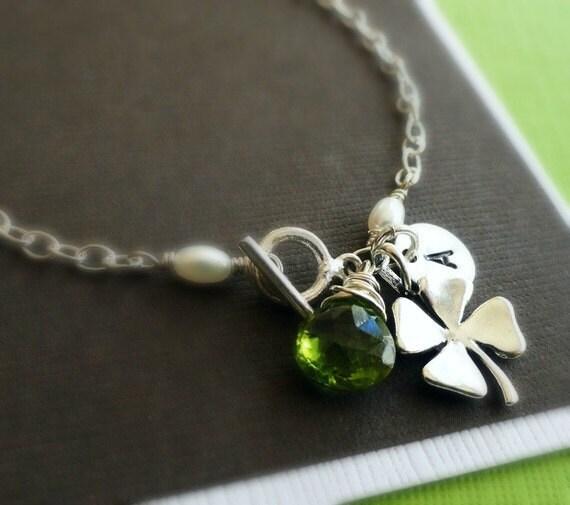 Personalized Bracelet, clover bracelet with CUSTOM BIRTHSTONE & INITIAL,  Four Leaf clover, Green stone, peridot, shamrock bracelet