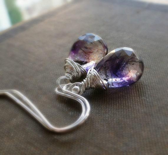 Moss amethyst earrings, wire wrapped amethyst earrings, rutiliated, super seven, sterling silver, lavendar earrings