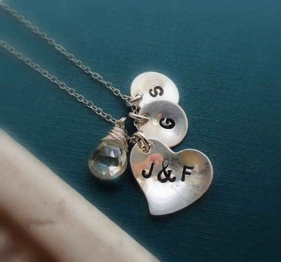 Family Necklace, mothers necklace, CUSTOM STONE & INITIALS, up to 3 children, husband and wife, birthstone