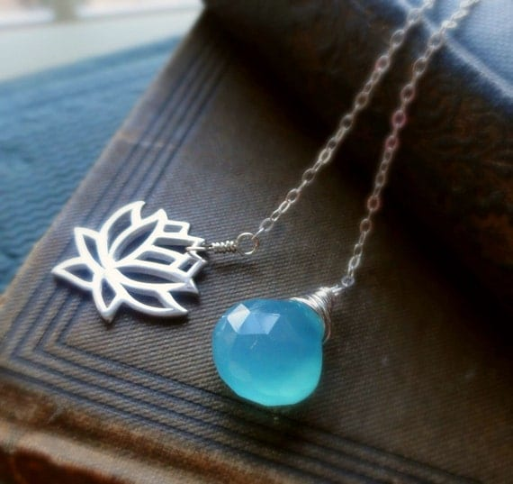 Sterling Silver Lotus Lariat Necklace, Aqua Chalcedony, Silver lariat, lotus necklace, yoga necklace, bhuddist jewelry