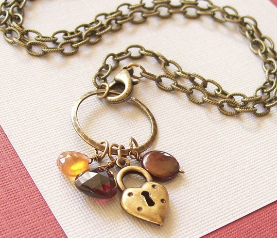 Unlock My Heart Gemstone and Brass Vintage Inspired Necklace FREE SHIPPING WORLDWIDE