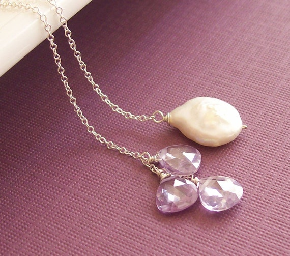 Crystalline Lariat, Lilac Edition, Sparkling CZ Brioletttes and a Freshwater Coin Pearl