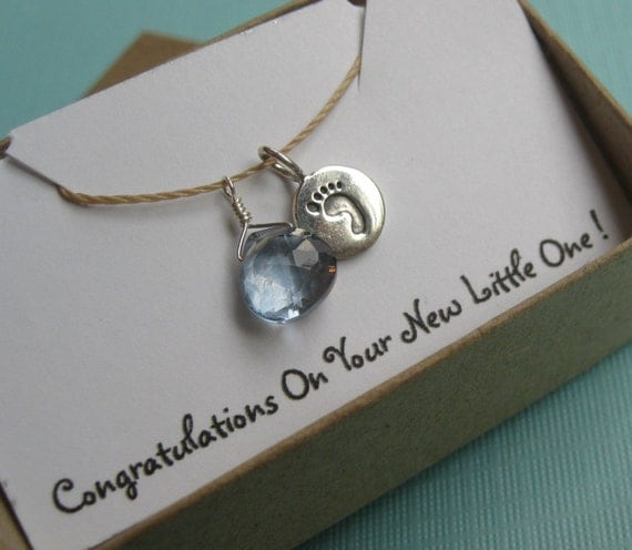 Anticipating a Boy, Faceted Blue Mystic Quartz Briolette With a Tiny Sterling Silver Baby Footprint Tab Charm