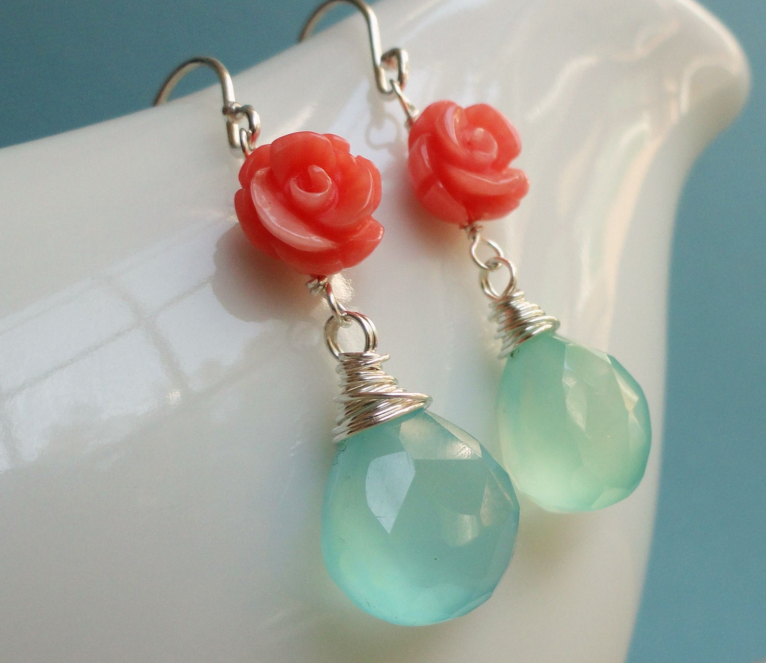 Coral Amp Aqua Earrings Coral And Turquoise Chalcedony Teal